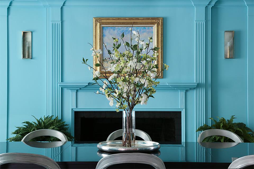 Blue dining room by Sage Design